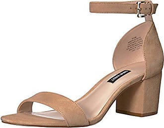 Nine West Womens Frostbite Heeled Sandal, Light Natural Suede, 6.5 Medium US