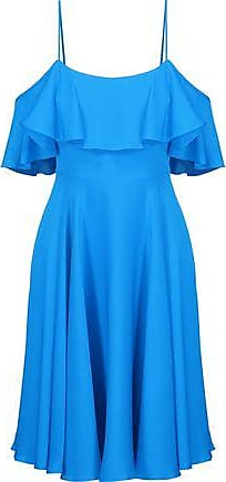 Milly Milly Woman Emmaline Cold-shoulder Ruffled Silk-blend Satin Dress Blue Size 10