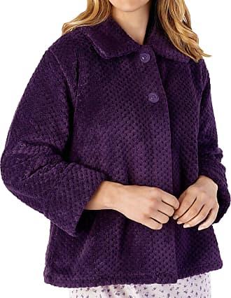 Slenderella Ladies 24/61cm Soft Thick Purple Waffle Fleece Collared Button Up Bed Jacket Size Medium 12 14