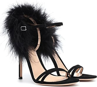 Gianvito Rossi Thais suede and feather sandals