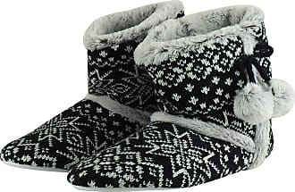 MySocks Ladies Slippers Black Grey Fairisle