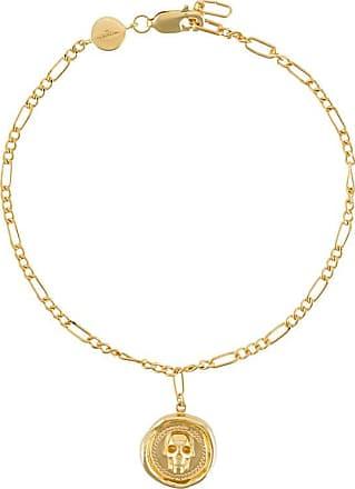 Northskull Pulseira Atticus de prata banhada a ouro com caveira - Dourado