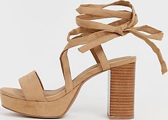 ab4937d00e9 Asos Wide Fit Walker platform block heeled sandals - Beige