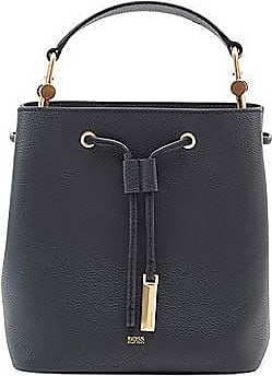 BOSS Drawstring bucket bag in Italian leather with antique hardware