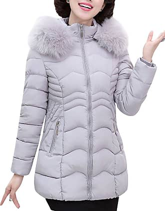 ZhuiKun Ladies Warm Hooded Parka Jacket Faux Fur Quilted Down Coat Winter Padded Puffer Overcoat Grey L