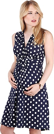 Krisp 6147-NVYWHT-10: Polka Dot Print Twist Knot Front V Neck Mini Swing Dress Party Summer