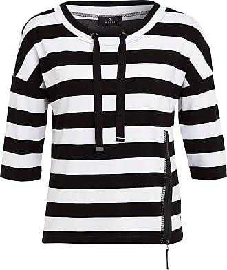 Monari Sweatshirt mit 3/4-Arm und Schmucksteinbesatz - SCHWARZ/ WEISS