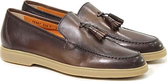 Santoni MOCASSINO IN PELLE CON NAPPINE 10 colore MARRONE 7e16577acc5
