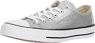 Converse Womens Chuck Taylor All Star Glitter Canvas Low Top Sneaker, Silver/White, 6 M US