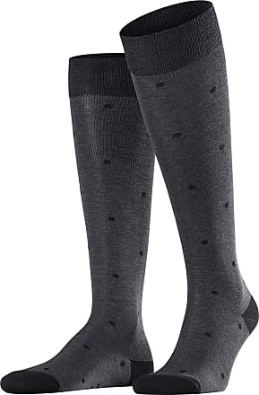 Falke Men Dot Knee-Highs - 88% Cotton, Grey (Anthracite Melange 3096), UK 8.5-11 (Manufacturer size: 43-46), 1 Pair