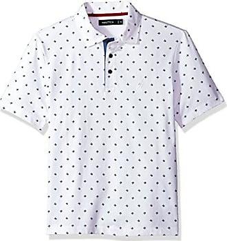 Nautica Mens Short Sleeve Classic Fit Printed Polo Shirt, Bright White X-Small