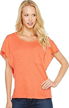 Splendid Womens Ruffle Sleeve Crewneck Tee T-Shirt, Bright Coral, X-Small