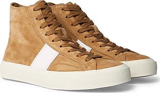 Tom Ford Cambridge Leather-trimmed Suede High-top Sneakers - Tan