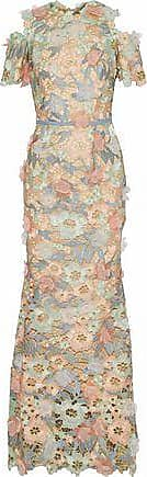 Marchesa Marchesa Notte Woman Cold-shoulder Floral-appliquéd Metallic Guipure Lace Gown Mint Size 10