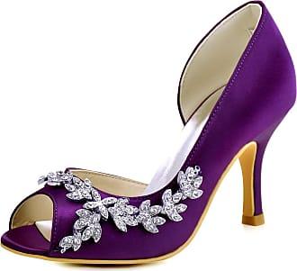 Elegantpark HP1542 Wedding Heels for Women Peep Toe Bridal Shoes High Heels Satin DOrsay Rhinestone Evening Party Shoes Court Shoes Purple UK 6