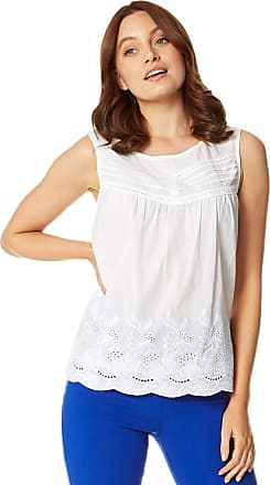 Roman Originals Women Floral Embroidered Round Neck Vest Top - Ladies Flower Embroidered Lightweight Sleeveless Summer Holiday Cotton Blouse - Ivory - Size 16