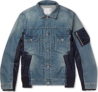 sacai Shell-panelled Denim Jacket - Blue