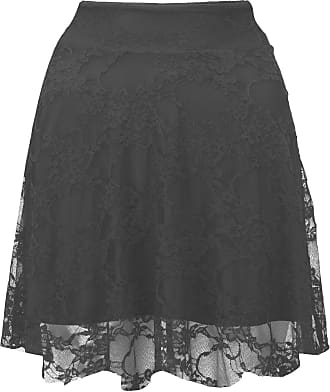 The Celebrity Fashion Ladies Floral Black Lace Skater Skirt Women High Waist Flare Mini Skirt Plus Size 8-22
