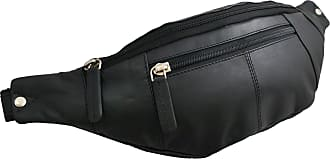 Visconti 721 Genuine Soft Leather Bumbag Fanny Pack Waist Pouch (Black)