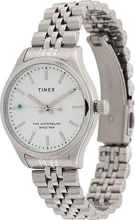 Timex Relógio de aço inoxidável com corrente - Prateado