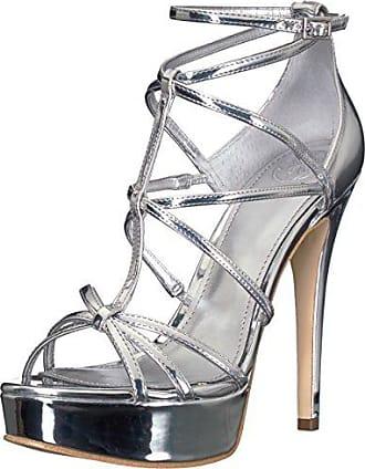 Guess Womens KICO Heeled Sandal, Silver, 8 M US