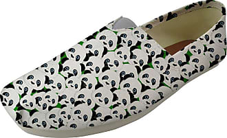 Hugs Idea Cartoon Panda Print Espadrilles Pumps Lightweight Canvas Flat Shoes Casual Plimsolls Shoe