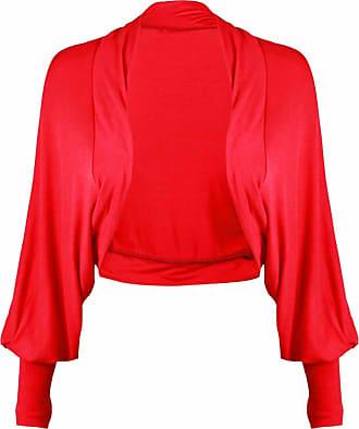 Momo & Ayat Fashions Ladies Batwing Sleeve Plain Cropped Bolero Shrug Size 8-26 (M/L (UK 12-14), Red)