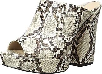 Kenneth Cole Womens Gracen Flared Heel Mule, Black/White, 9.5