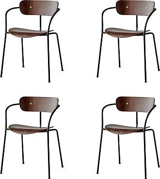 2 x Edelweiss Esszimmerstuehle, Walnuss und Schwarz