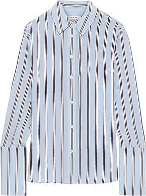 7e5a6e8c4 Frame Denim Frame Woman Striped Washed-silk Shirt Light Blue Size S