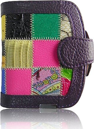 Your Dezire Ladies Girls Designer Patchwork Real Leather Coin Purse Womens Wallet Card Holder Bag (Purple)