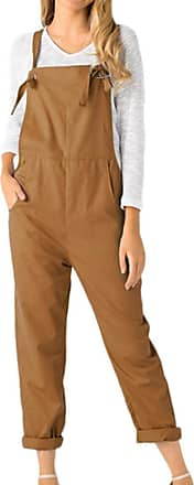 Kobay Women Playsuit Pants, Loose Dungarees Loose Long Pockets Rompers Jumpsuit Trousers Khaki