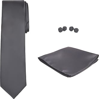 Jacob Alexander Solid Color Mens Tie Hanky and Cufflink Set - Charcoal