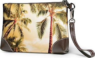 GLGFashion Womens Leather Wristlet Clutch Wallet Palm Tree Storage Purse With Strap Zipper Pouch