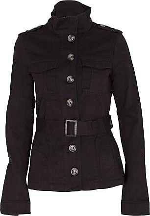 Noroze LADIES MILITARY STYLE ARMY JACKET WOMENS BELTED COTTON COAT BLACK KHAKI STONE UK 6 8 10 12 14 (12(40), Black)
