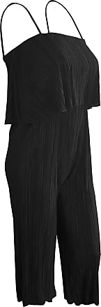 Top Fashion18 Top Fashion Ladies Plus Size Pleated Chiffon Crinkled Jumpsuit Strap Bardot Tiered Overlay Top (UK Size 14-26) Black