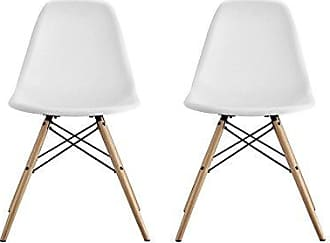 Dorel Home Products DHP Mid Century Modern Chairs with Wood Legs, White, Set of 2