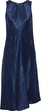 Vince Vince. Woman Asymmetric Crinkled-satin Dress Blue Size XS