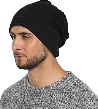 DonDon Mens Jersey Classic Slouch Beanie for wear all year round breathable soft and suitable for heads of all sizes - Black