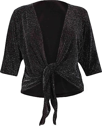 Purple Hanger Womens Batwing Short Sleeve Ladies Stretch Sparkle Glitter Front Tie Bolero Shrug Cardigan Top Plus Size Black 16