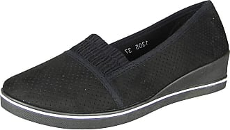 New Womens Ladies Low Wedge Slip On Pumps Comfy Casual Loafer Trainer Shoes Size