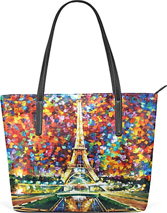 NaiiaN Handbags Light Weight Strap Keepers Purse Shopping Tote Bag Leather Eiffel Tower Rainbow for Women Girls Ladies Student Shoulder Bags