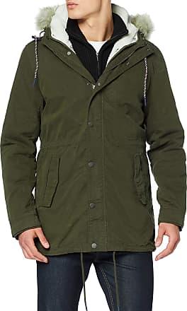Tommy Jeans Mens TJM Cotton Lined Parka Jacket, (Forest Night Lex), X-Large