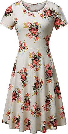 QUINTRA Women Summer Vintages Sleeveless Beach Bohe Casual Floral Tank Short Mini Dress (XL, White A)