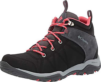 Columbia Womens FIRE Venture MID Textile Hiking Boot Black, red Coral 7 Regular US
