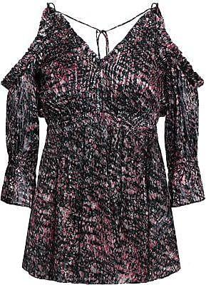 Iro Iro Woman Eldan Cold-shoulder Printed Devoré-chiffon Top Plum Size 34