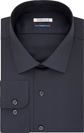 Van Heusen mensTall Fit Dress Shirts Flex Collar Solid (Big and Tall) Spread Collar Long Sleeve Dress Shirt - Gray - 18.5 Neck 35-36 Sleeve