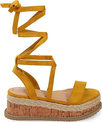 Shelikes Womens Ladies Flat Wedge Espadrille Lace Tie Up Sandals Platform Summer Shoes Mustard Suede_4
