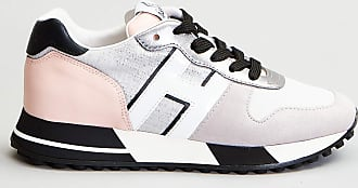 Reposi Calzature HOGAN H383 - Sneakers in pelle e tessuto grigio bianco rosa