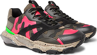 Valentino Valentino Garavani Bounce Camouflage-print Leather, Mesh And Suede Sneakers - Pink